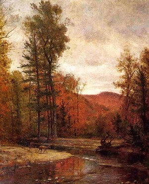 Thomas Worthington Whittredge - Adirondack Woodland with Two Deer
