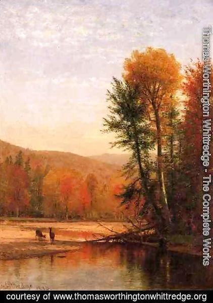 Thomas Worthington Whittredge - Deer in an Autumn Landscape
