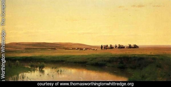 A Wagon Train on the Plains, Platte River