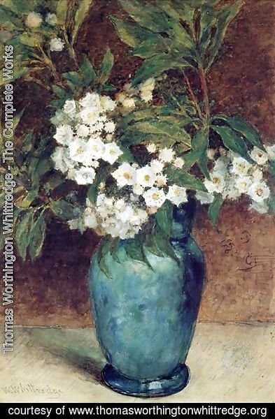 Thomas Worthington Whittredge - Laurel Blossoms in a Blue Vase