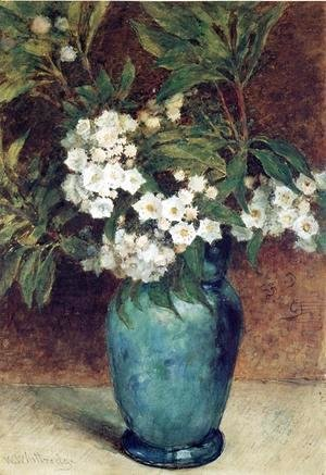 Laurel Blossoms in a Blue Vase
